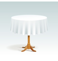 Empty Wood Round Table with Tablecloth vector image