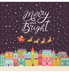 Merry and bright lettering vector