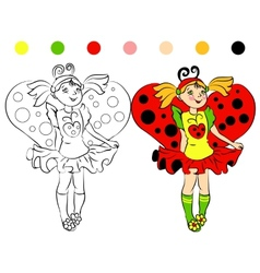 Coloring page girl in costume ladybug vector