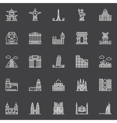 Monuments icons set vector