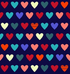 Background with cute hearts on dark blue vector
