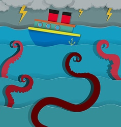 Sea monster attacking fighing boat vector