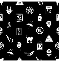 Friday the 13 bad luck day icons seamless pattern vector