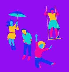 Happy brightly coloured children playing outdoors vector