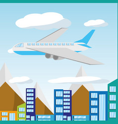 Airplane flying around the beautiful city vector