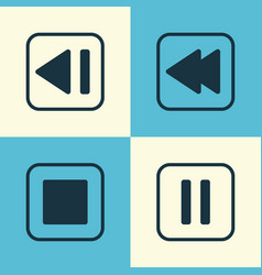 Audio icons set collection of stop button mute vector