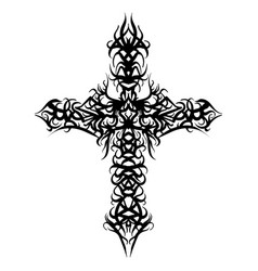 beautiful ornate cross sketch vector image vector image