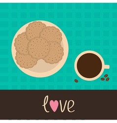 Biscuit cookie cracker on the plate and coffee vector