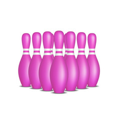 Bowling pins in pink design with white stripes vector