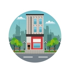 Building twon store facade stamp vector