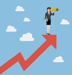 Business woman has a telescope standing on graph vector image vector image