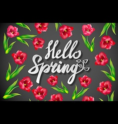 Chalk spring template hello spring spring blossoms vector