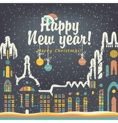 Christmas card with winter old city vector