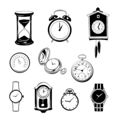 Clock and watch collection black and white vector