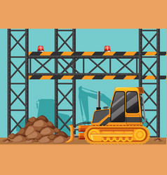 Construction site with bulldozer and metal bars vector