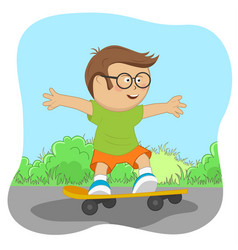 Cute little nerd boy on skateboard on road vector