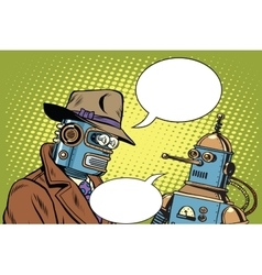 Dad and son robots vector image vector image