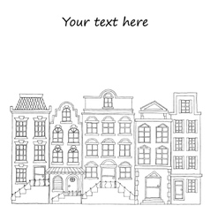 European street with houses drawing hand drawn vector