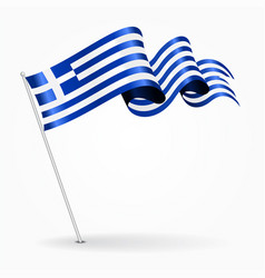 Greek pin wavy flag vector