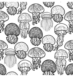 Jellyfish pattern in line art style vector image