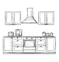 Kitchen cupboard shelves hand drawn vector