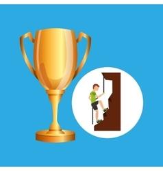 Male climbing rock trophy sport design vector
