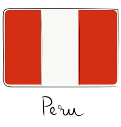 Peru flag doodle vector image vector image