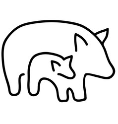 Quality black and white silhouettes of pigs vector