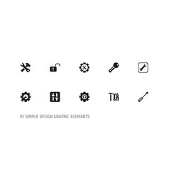 set of 10 editable tool icons includes symbols vector image