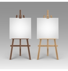 Set of Wooden Brown Sienna Easels with Canvases vector image