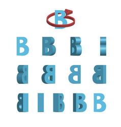 Sheet of sprites rotation of cartoon 3d letter b vector