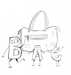 sketch with bag vector image