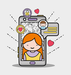 Smartphone with girl inside and chat bubble vector
