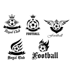 Soccer and football emblems set vector image