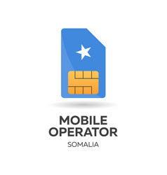 Somalia mobile operator sim card with flag vector