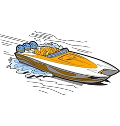Speedboat on water vector