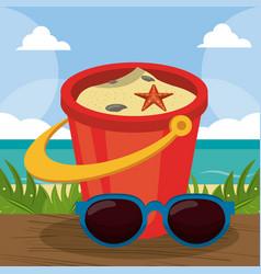 Summer holidays - sunglasses bucket shovel sand vector