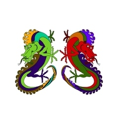 two Chinese dragons vector image vector image