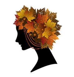 woman with autumn leaves vector image vector image