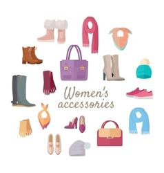 Women s accessories isolated on white set vector