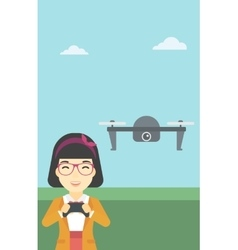 Woman flying drone vector