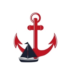 anchor and sail boat icon vector image