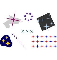 Stars set with four beams in different colors and vector