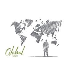Hand drawn businessman standing at big world map vector image