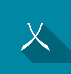 Crossed swords with long shadow scimitar icon vector