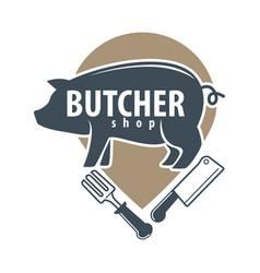 Butcher shop logo emblem with pig on white vector