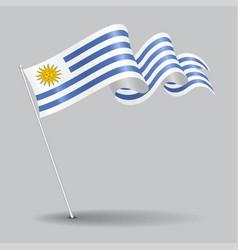 uruguayan pin wavy flag vector image