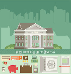 Bank building in city space with icons in flat vector