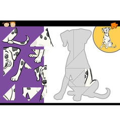 Cartoon dalmatian dog puzzle game vector