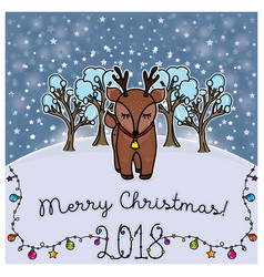 christmas card with reindeer stars snow vector image